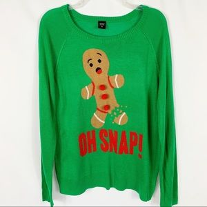 Gingerbread Man Oh Snap Ugly Christmas Sweater XL